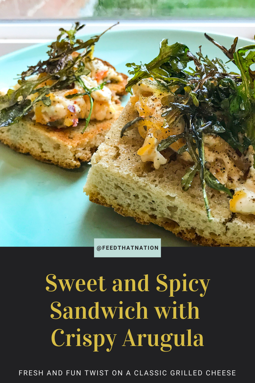 Sweet And Spicy Open Faced Sandwich With Crispy Arugula